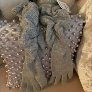 NWT! INC Shirred Ruched Long Gloves Glitter